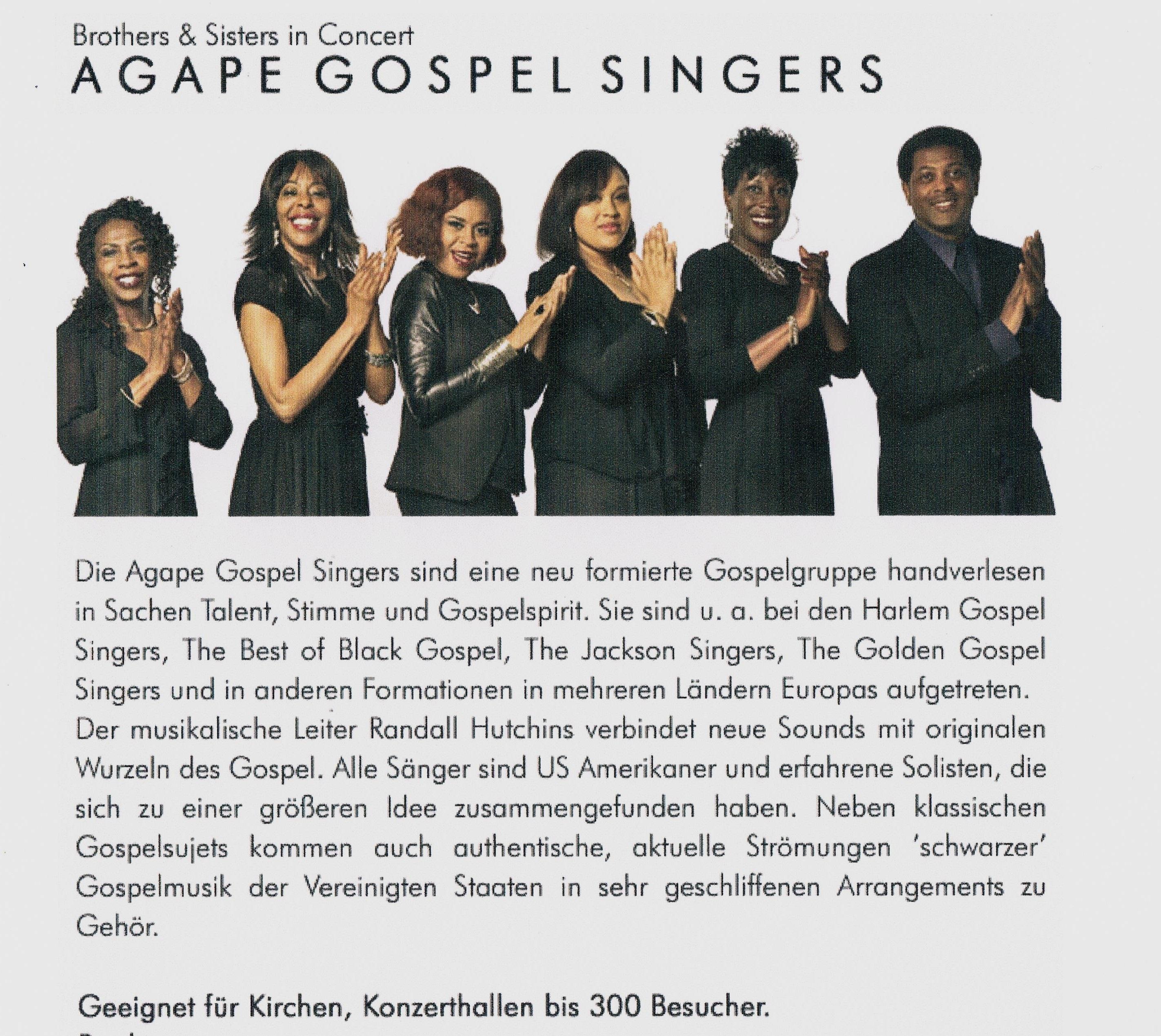 AGAPE GOSPEL SINGERS ( USA) - Kulturcafe M - die Agentur für Kunst ...