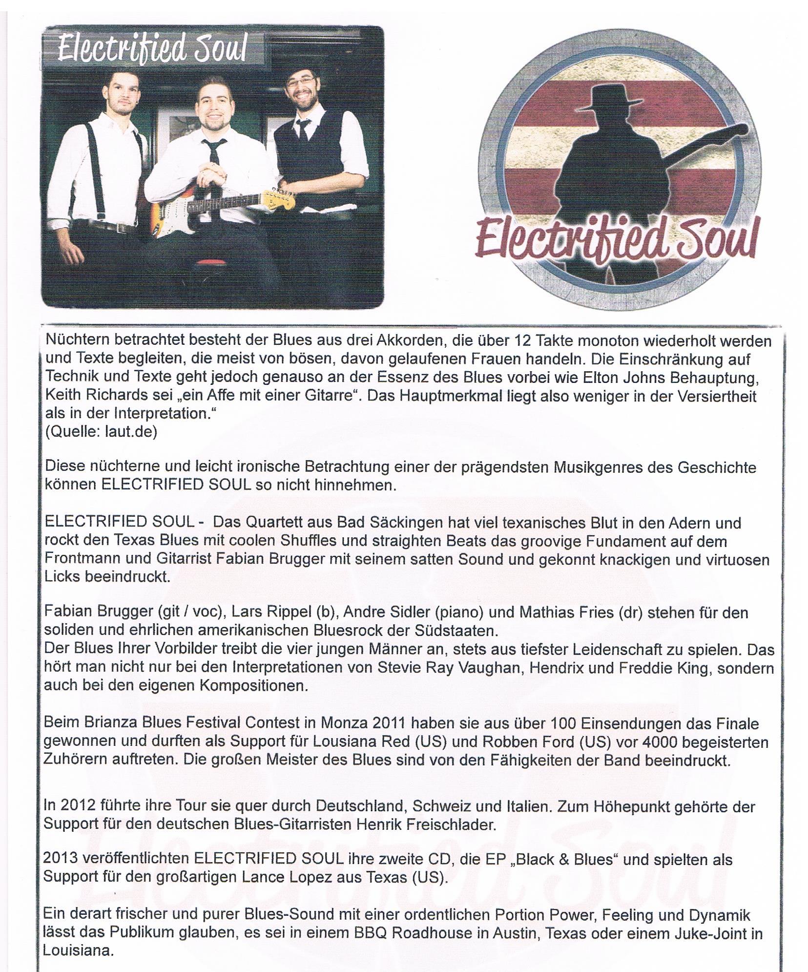 ELECTRIFIED SOUL - Kulturcafe M - die Agentur für Kunst und Kultur