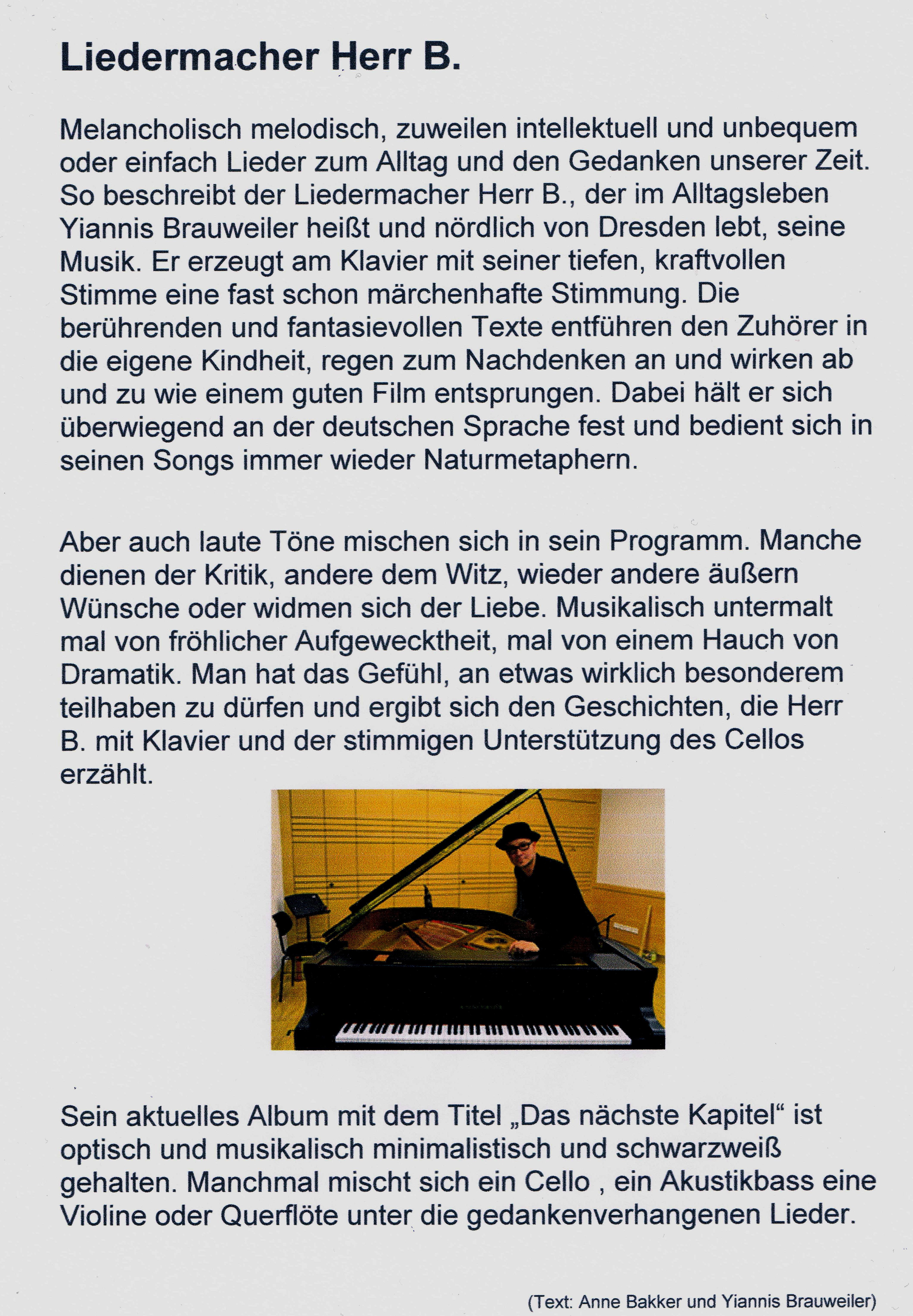 Liedermacher Herr B. (Yiannis Brauweiler) - Kulturcafe M - die ...